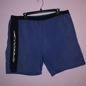 Blue & Black Speedo Swim Trunks